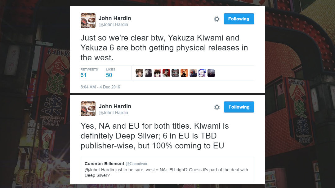 Yakuza Kiwami and Yakuza 6 getting a physical release for both NA and EU!