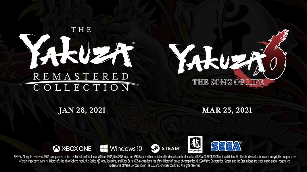 Yakuza Remastered Collection (3, 4, and 5) and Yakuza 6 are coming to Gamepass, Xbox, Windows 10 and Steam early 2021!